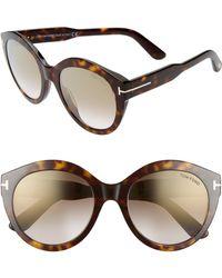 23d8a327db Tom Ford - Rosanna 54mm Round Cat Eye Sunglasses - Shiny Classic Dark  Havana - Lyst