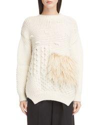 Simone Rocha - Round-neck Alpaca-blend Cable-knit Sweater W/ Faux-fur Patch - Lyst