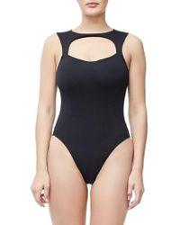 GOOD AMERICAN - Good Body Sporty Cutout Bodysuit - Lyst