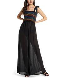 3421a96640942 Michael Stars Dana Long Sleeve Surplice Jumpsuit in Black - Lyst