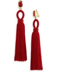 Oscar de la Renta | Long Silk Tassel Clip-on Earrings | Lyst