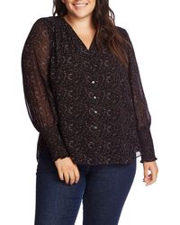 1.STATE Print Button-up Blouse - Black