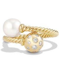 David Yurman - 'solari' Ring With Pearls And Diamonds In 18k Gold - Lyst