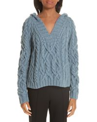 Nellie Partow - Melange Cable Knit Hooded Sweater - Lyst