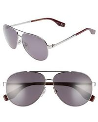 Marc Jacobs - 61mm Polarized Metal Aviator Sunglasses - Ruthenium Polar - Lyst