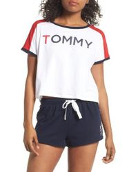 Tommy Hilfiger - Cropped Lounge Tee - Lyst