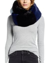 Heurueh - Colorblock Faux Fur Infinity Scarf - Lyst