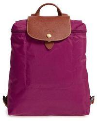 Longchamp - 'le Pliage' Backpack - Purple - Lyst