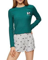 TOPSHOP Forest Green Ribbed Panda Pyjama Set