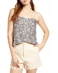 Endless Rose Multicolor Sequin Camisole - White