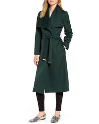 Ted Baker Wide Collar Brushed Wrap Coat - Green