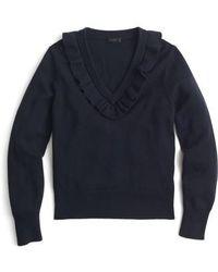 J.Crew | J.crew Ruffle V-neck Sweater | Lyst