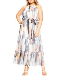 City Chic Brushstroke Halter Maxi Dress - Multicolor