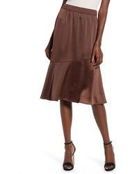 Vero Moda Important Asymmetrical Ruffle Skirt - Brown