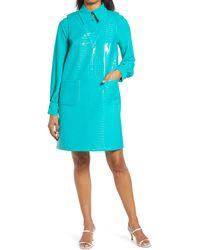 Halogen Halogen X Atlantic-pacific Croc Embossed Faux Leather Shift Dress - Blue