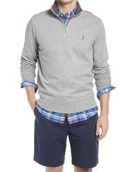 Polo Ralph Lauren Lux Heathered Quarter Zip Pullover - Grey