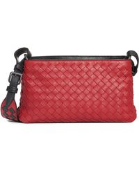 Lyst - Bottega Veneta Woven Intrecciato Small Cross-body Bag in Natural 77420ea5d78c8