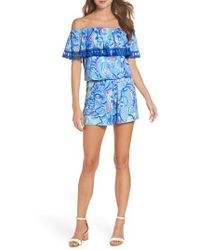 Lilly Pulitzer - Lilly Pulitzer La Fortuna Off The Shoulder Romper - Lyst