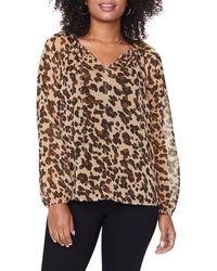 NYDJ Leopard Print Split Neck Blouse - Brown