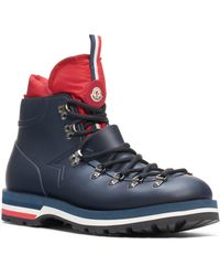 Moncler - Blue Leather Ankle Boots - Lyst