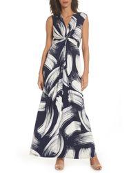Eliza J Front Knot Jersey Maxi Dress - Blue
