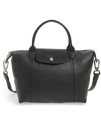 Longchamp - Small 'le Pliage Cuir' Leather Top Handle Tote - Purple - Lyst