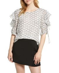1.STATE - Flower Etching Ruffle Sleeve Top - Lyst