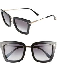 Tom Ford - Lara 52mm Mirrored Square Sunglasses - - Lyst
