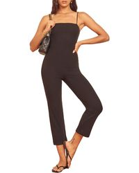 Reformation Kelsi Ribbed Crop Jumpsuit - Black