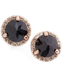 Anna Sheffield - Black Spinel & Champagne Diamond Rosette Stud Earrings - Lyst