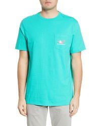 Vineyard Vines Irish Clover Whale Pocket T-shirt - Blue