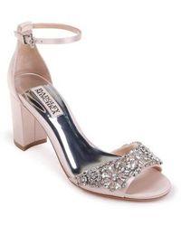 Badgley Mischka - Hines Embellished Block Heel Sandal - Lyst