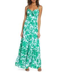 Eliza J Floral Tie Front Tiered Maxi Sundress - Blue