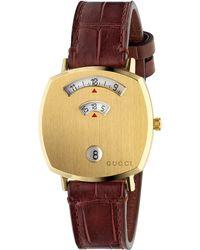 Gucci Grip Genuine Alligator Strap Watch - Metallic