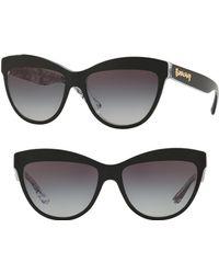 0009b6a993c Burberry - Acoustic 56mm Cat Eye Sunglasses - Top Black Gradient - Lyst