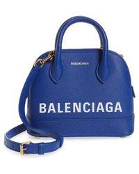 Balenciaga - Small Ville Logo Leather Dome Satchel - Lyst