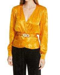 Ronny Kobo Lorrie Belted Silk Blend Jacquard Blouse - Yellow