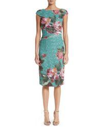 Monique Lhuillier - Rose Print Guipure Sheath Dress - Lyst
