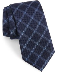 Calibrate Fetter Plaid Silk Tie - Blue