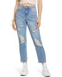 BP. Ripped High Waist Mom Jeans - Blue