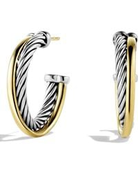 David Yurman - 'crossover' Small Hoop Earrings With Gold - Lyst