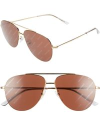 b4b6e8f0a7 Balenciaga - 59mm Aviator Sunglasses - Shiny Endura Gold  Brown - Lyst