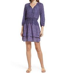 Bobeau Smocked Waist Minidress - Blue