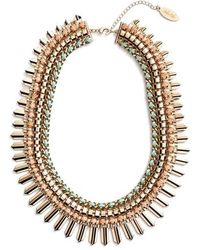 Adia Kibur - Crystal & Suede Statement Necklace - Lyst