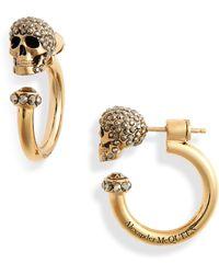 Alexander McQueen Skull Huggie Hoop Earrings - Metallic