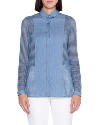 Akris Grid Sleeve Gabardine Shirt - Blue