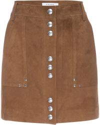 FRAME Stud Detail Suede Miniskirt - Brown
