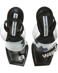 Alexander Wang Kaia Clear Strap Crystal Logo Sandal - Black