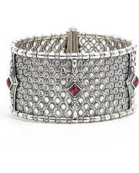 Konstantino - Etched Silver & Rhodolite Garnet Cuff Bracelet - Lyst