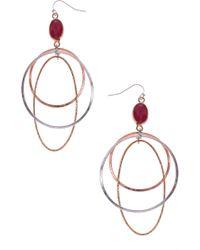 Nakamol Drusy Multi Hoop Drop Earrings